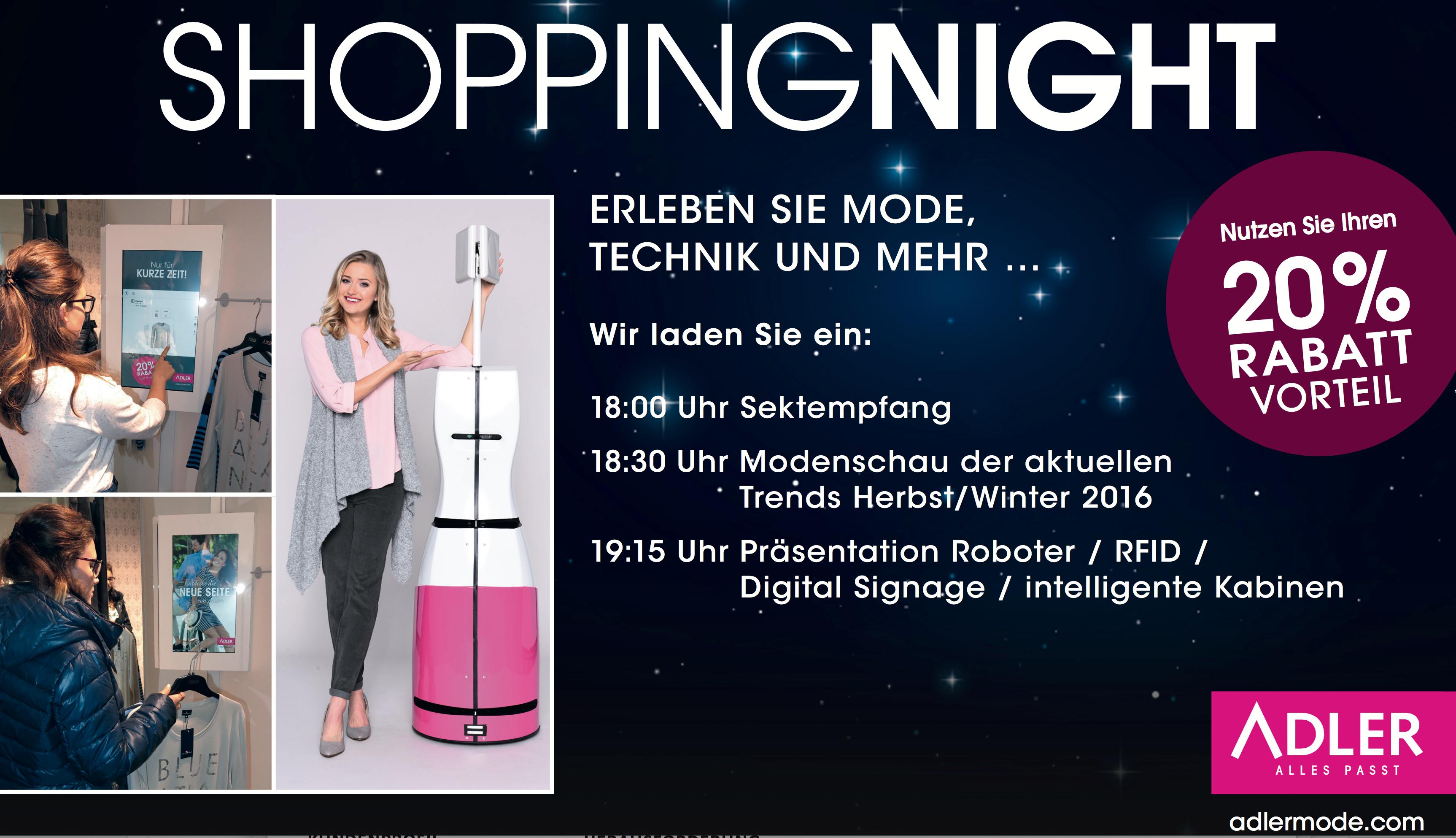 Flyer Late Night Shopping Adler Modemarkt in Erfurt/ Thüringer-Einkaufs-Center