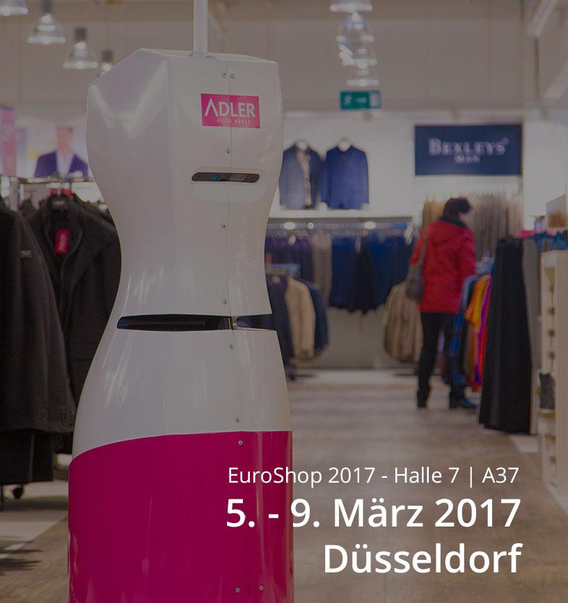 Inventur Roboter TORY im Adler Modemarkt - Bild mit Einladung zur EuroShop 2017